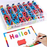 Magnetic Alphabet Letters Foam Set with Double-Side Magnet Board for Fridge Refrigerator Toy - Educational School Classroom Learning Spelling(208 Pcs)