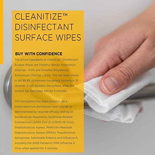 Cleanitize Cleaning & Disinfecting Wipes, 72 Wet Wipes, Kills 99.9% of Common Household Bacteria, Bleach Free, Citrus Fruit Scent, Disinfect Kitchens, Bathrooms, Doorknobs, Floors, Children's Toys