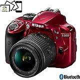 Nikon D3400 Digital SLR Camera & 18-55mm VR DX AF-P Zoom Lens (Red) - (Certified Refurbished)