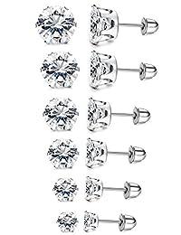 LOYALLOOK 6 Pairs Stainless Steel Clear Cubic Zirconia Stud Earring Ear Piercings Women Girls 3-8mm