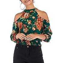 Women Tops Off Shoulder Blouses Summer Tees Chiffon Shirts