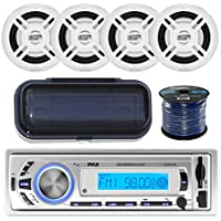 Pyle PLMR21BT Marine Boat USB/SD/MP3 Bluetooth Stereo Receiver With Waterproof Cover Bundle Combo With 4x Enrock 6.5 Inch Dual-Cone White Upgarde Audio Coaxial Speakers + Enrock 50Ft 16g Speaker Wire