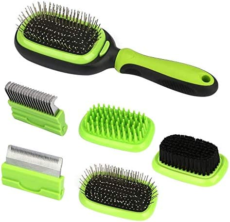 Grooming Brush 5 in 1 Pet Massage Kit Deshedding Tool Dematting Comb Fur Remove Cleaning for Dog Cat with Long or Short Hair