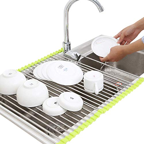 Luximal®Stainless Steel Foldable/Roll-Up Over Sink Fruit Vegetable Utensils Drying Rack for Kitchen 46.5 x 46 cm Price & Reviews