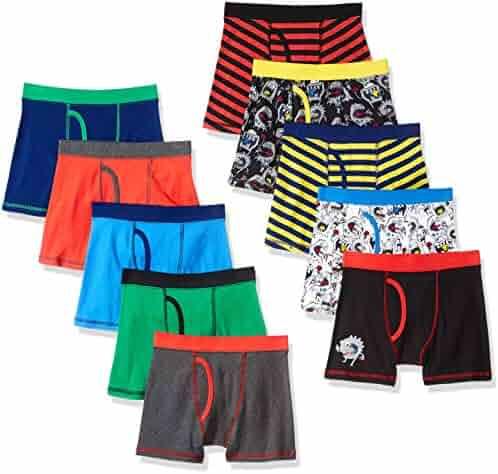 Amazon Brand - Spotted Zebra Boys' 10-Pack Boxer Brief Underwear