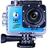 Sports Camera Sport Video 4K WIFI Action Cam 16 MP Underwater Camcorder HD 1080P and a Batteries 170° Wide-Angle Blue