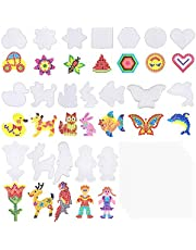 KUUQA 19 Pcs Fuse Beads Boards 5 mm Plastic Clear Pegboards with 19 Pcs Colorful Cards Template Bead Board for Kids Craft