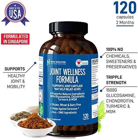 Joint Wellness Triple Strength 1500mg - Glucosamine, Chondroitin, MSM - 120 Veggie Caps