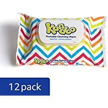 Kandoo Kids Flushable Wipes Travel Pack, Potty Training Cleansing Cloths, Sensitive, 48 Count (Pack of 12)