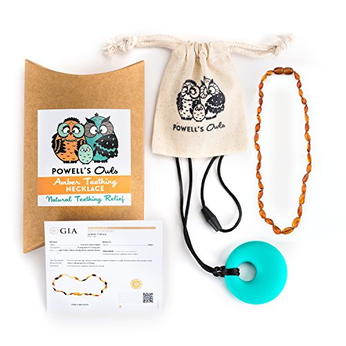 Baltic Amber Teething Necklace – Handmade in Lithuania – Lab-Tested Authentic – Comes with Silicone Teething Pendant (12.5 inches – Standard, Cognac)