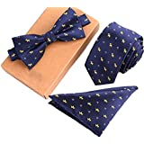 Men's Classic Restro Embroidery Pre-Tied Necktie Bowtie Pocket Square 3pcs Set Perfect Gift for Father's day Red