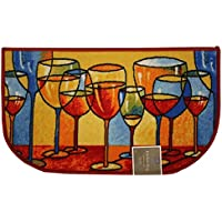 Kashi Home D-Shaped Mat with Latex Back Merlot Series Kitchen Rug, 18 by 30