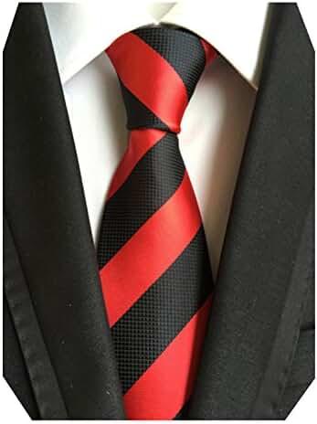 MENDENG Large Striped Orange Gold Blue 100% Silk Business Casual Men Tie Necktie
