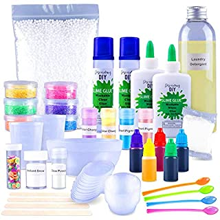 Discovering DIY Slime Kit for Girls and Boys - Slime Kits - All Inclusive Slime Making Kit with Glow-in-The-Dark Powder - Slime Supplies Kit