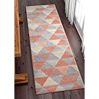 Well Woven Isometry Pink Modern Geometric Triangle Pattern 2x7 (2 x 73 Runner) Area Rug Soft Shed Free Stain Resistant