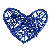 5 Pcs/Bag Rattan Ball, Heart Shape Sepak Takraw Handicraft Rattan Ball Christmas Decor Party Wedding Room Ornament(Dark Blue)