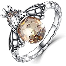 BAMOER Sterling Silver Queen Bee with Clear Cubic Zircon Stacking Band Ring,Size 5 to 10