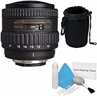 Tokina 10-17mm f/3.5-4.5 AT-X 107 AF DX NH Fisheye Lens for Nikon (International Model) No Warranty + Deluxe Cleaning Kit + Deluxe Lens Pouch Bundle 3