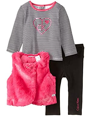 Baby Girls' Pink Vest with Tee and Leggings
