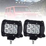 Lightfox 2Pcs 4Inch 18W Flood Cree LED Light Bar Offroad Pods Lights 4wd LED Driving Lamp Work Light Bulb Fog Lights for Truck Pickup Jeep SUV ATV UTV Waterproof, 1 Year Warranty