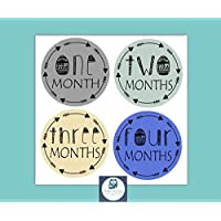 Baby Monthly Milestone Stickers by BabyBumpMoments | Set of 12 Tribal Arrow Baby Boy Stickers for First Year | Baby Shower Gift
