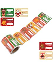 L LIKED Gift Label Stickers Christmas Gift Tag Stickers - to and from, Peel and Stick Self Adhesive Present Labels for Holiday Gift Box, Wrapping Paper, Gift Bag, (Christmas 5 Designs - 120 Count)