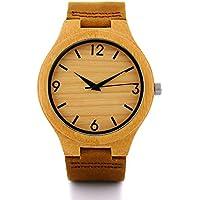 [Patrocinado] Sunmax - Reloj hecho a mano a base de bambú natural con correa de piel vacuna y caja para regalo y movimiento de cuarzo japonés. Relojes de muñeca hechos de madera y unisex con correa color café de piel vacuna para hombres y niños