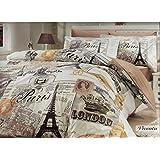 Deconation 100% Cotton Comforter Set Single Twin Full Size Paris Eiffel Tower Vintage Brown Bedding Set Quilt Doona Cover Sheets (Full)
