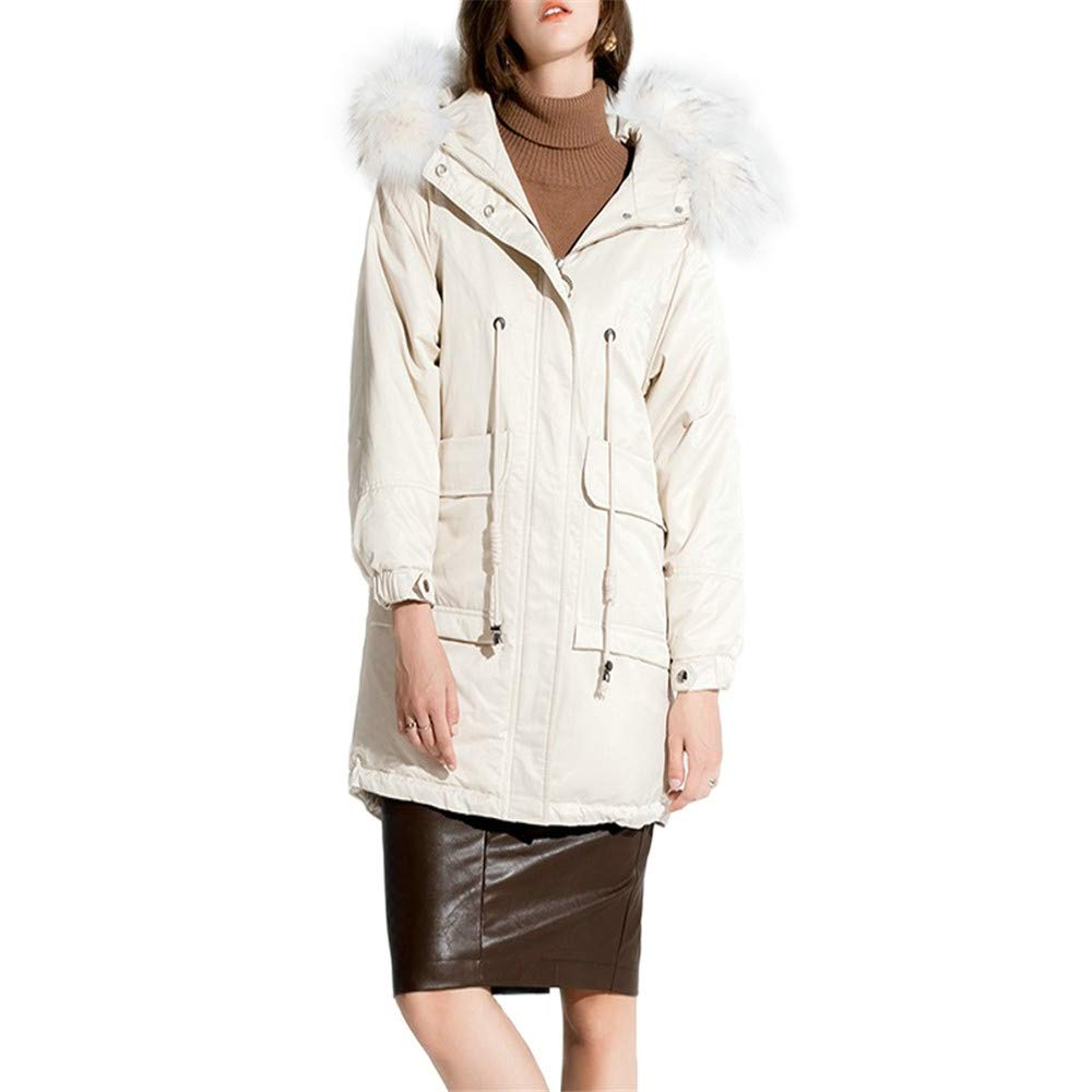 White Dotoo Women White Duck Down Hooded Loose Long Section Casual Warm Down Jacket Coat