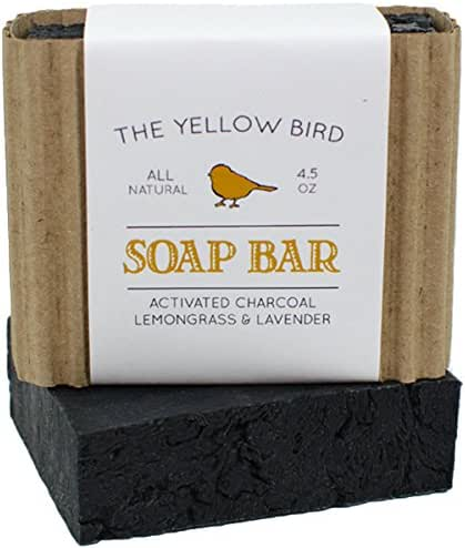 The Yellow Bird Activated Charcoal Soap Bar. All Natural Detoxifying Cleanser. Certified Organic Ingredients. Paraben & Sulfate Free. For Acne, Eczema, Psoriasis, Rosacea, Dry Sensitive Skin