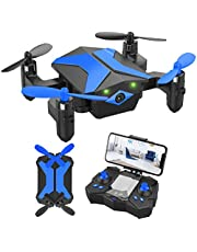 $47 » Mini Drone with Camera for KidsBeginners, Foldable Pocket RC Quadcopterwith App Gravity Voice Control Trajectory Flight, FPV Video, Altitude Hold, Headless Mode, 360°Flip, Toys Gifts for Boys Girls