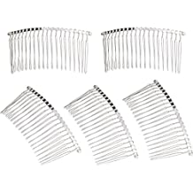 Hicarer 5 Pieces 20 Teeth Hair Clip Combs Metal Wire Hair Combs Wire Twist Bridal Wedding Veil Combs, Silver Color