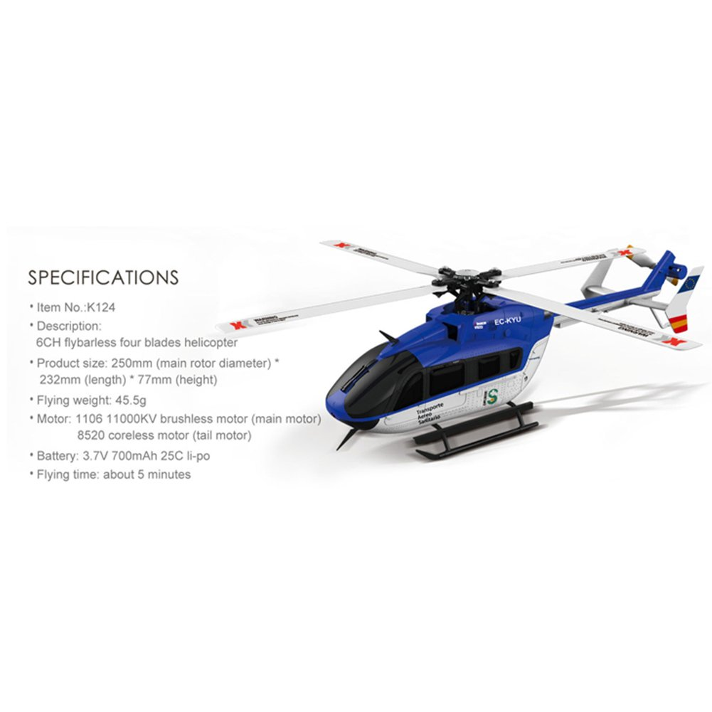DSstyles XK K124 RC Drohne BNF ohne ohne ohne Sender 6CH Brushless Motor 3D Hubschraubersystem kompatibel mit FUTABA S-FHSS Bnf 9cf682