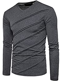 """<span class=""""a-offscreen"""">[Sponsored]</span>Men's Casual Long Sleeve Striped T-Shirt, Winter Fashion Cotton Solid V Neck Tee"""