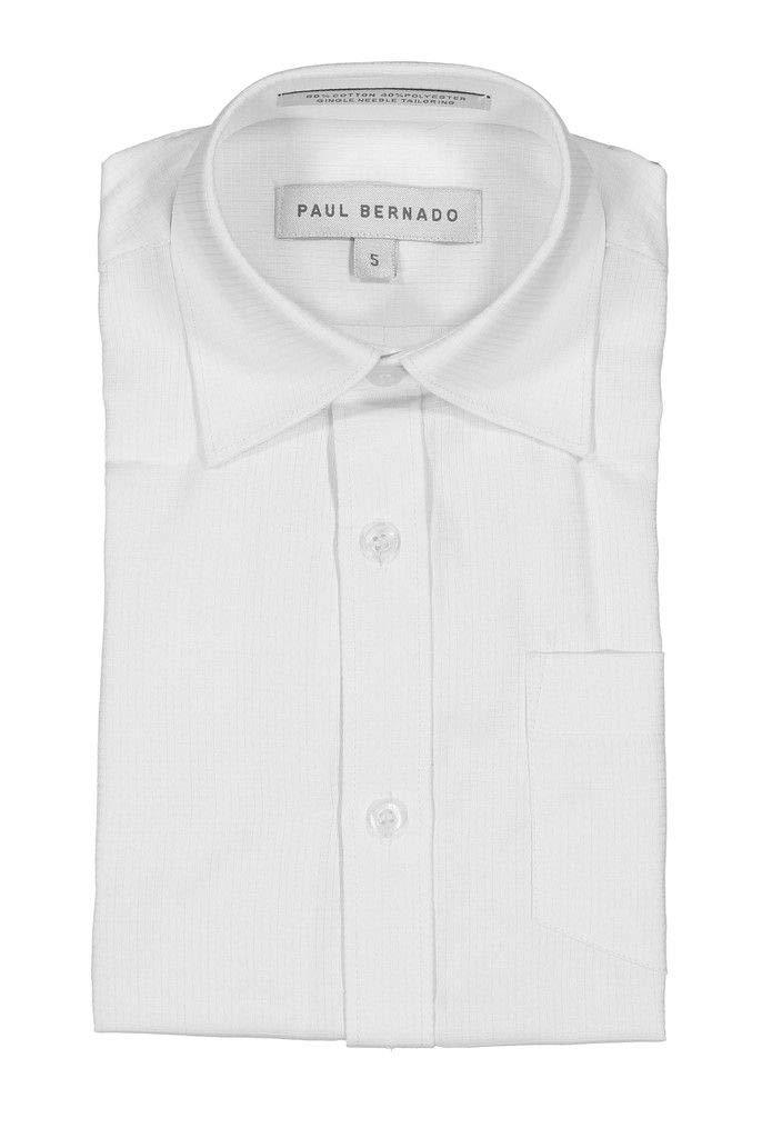 AKA Boys Solid Dress Shirt Button Down Long Sleeve Wrinkle Free Back to School