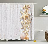 Bathroom Themes White Shower Curtain Seashells Decor By Ambesonne, Beach House Shells and Starfish on Rustic Wood Surface Nautical Ocean Marine Theme, Bathroom Accessories, With Hooks, 69W X 70L Inches, White Beige