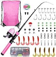 Hozzen Kids Fishing Pole, 59PCS Children's Fishing Kit, Telescopic Fishing Rod Combo and Reel Fishing Full Kit