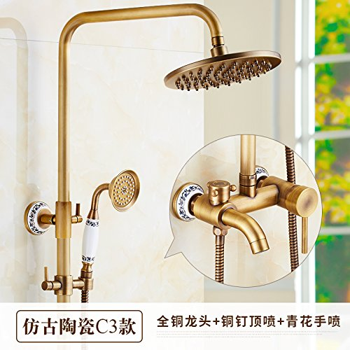 J Hlluya Professional Sink Mixer Tap Kitchen Faucet All copper antique shower, hot and cold valve faucet handheld sprinkler riser shower large shower kit,N