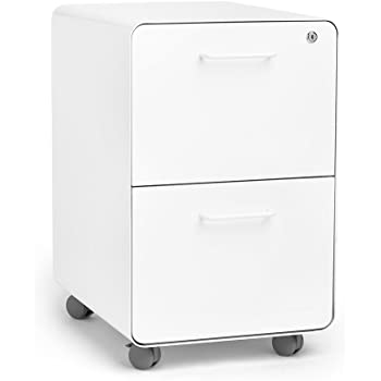 Amazon Com Poppin White Stow Rolling 2 Drawer File