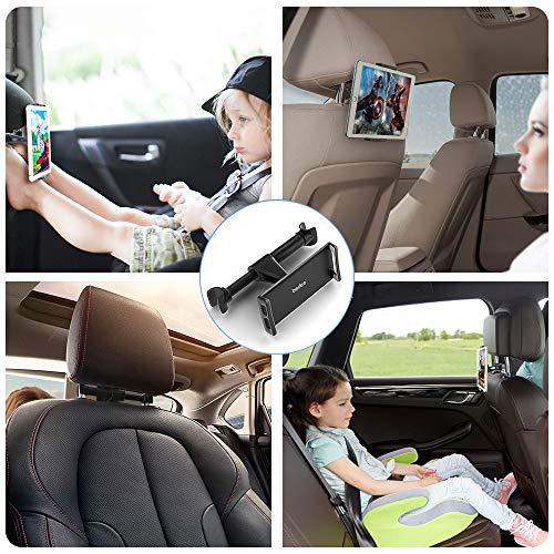 Support Tablette Voiture, Support Tablette Voiture appuie Tete pour Appui-tête Universel Auto, Rotation 360°, pour téléphone iPhone iPad 2/3/4 / Mini/Air, Samsung Galaxy Tab 4.7 à 11 Pouces- Noir