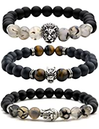 Top Plaza Jewelry - Mens Womens Cool Black Matte Agate...