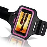 """iBenzer 4.7"""" Armband Water Resistant High Visibility Reflective Strip w/ Key&ID Card Holder for iPhone 6/6S/SE/5/5C/5S Galaxy S3/S4 HTC One & 4.7"""" Screen Phones, Pink CA-AB0147PK"""