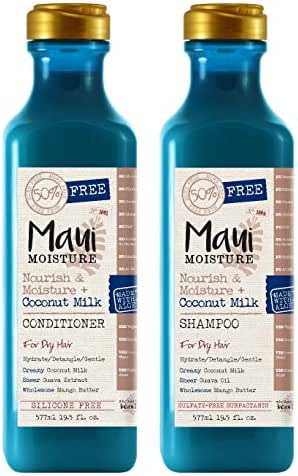 Maui Moisture Nourish & Moisture & Coconut Milk Shampoo & Conditioner Set 19.5 Ounce
