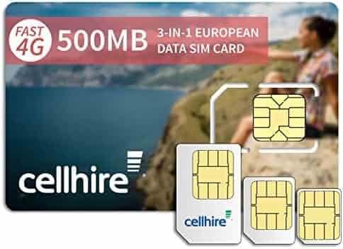 Cellhire Prepaid 4G Europe Data SIM Card - Europe 500MB Bundle - 33 countries - 3-in-1 SIM
