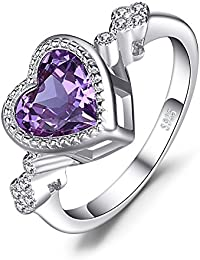 Heart Love 2.6ct Created Alexandrite Sapphire Ring 925 Sterling Silver