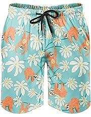 Gamoii Zwembroek voor heren, strandshort, luiaard dier, bloemen, boardshorts, sneldrogend, patroon, print met mesh-voering, zwemshorts met trekkoord en zakken
