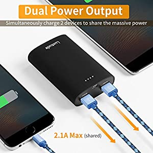 Luxtude 10000mAh Pocket-Size Portable Phone Charger, Ultra Compact Power Bank, High-Speed Charging Battery Pack for iPhone, Samsung Galaxy,LG and More