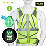 Rocontrip Safety Vest, Stylish Adjustable Reflective Running Vest Safety Vest High Visibility 360° Protection Lightweight Breathable for Jogging Cycling Workout for All Build All Season (S)