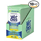Wet Ones Sensitive Skin Alcohol-Free Hand and Face Wet Wipes, Travel Pack, 20 Wipes ( Pack of 10)