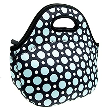 Neoprene Blue Dot Lunch Tote Bag - Insulated Waterproof Lunch Box for Women, Adults, Kids, Girls, and Teen Girls - Homwe